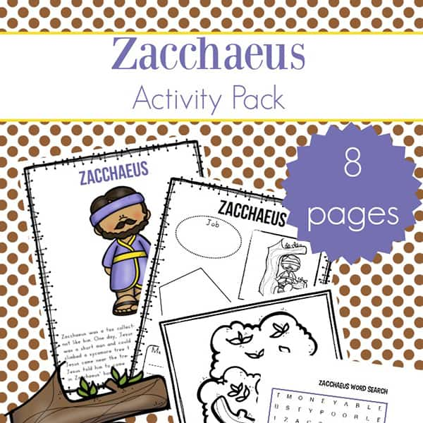 graphic relating to Zacchaeus Printable known as Zacchaeus Tale for Children: Free of charge Zacchaeus Printables Packet
