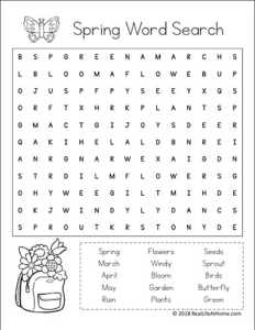 Spring Word Find Printable for Kids from Real Life at Home