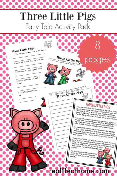 Free Three Little Pigs Worksheets and Activities Packet for Kindergarten - 2nd grade. This packet includes a Three Little Pigs Story Printable, Three Little Pigs sequencing cards, Three Little Pigs puppets page, and more! | Real Life at Home