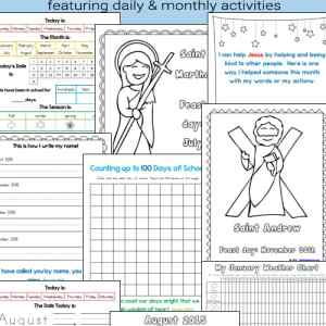 Daily Learning Notebook and Calendar Printables for Catholic Kids for the 2019 - 2020 school year (includes undated pages as well)