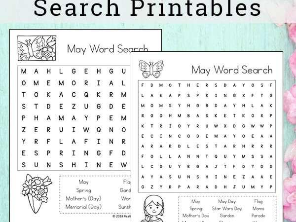 May Word Search Printable Set for Kids