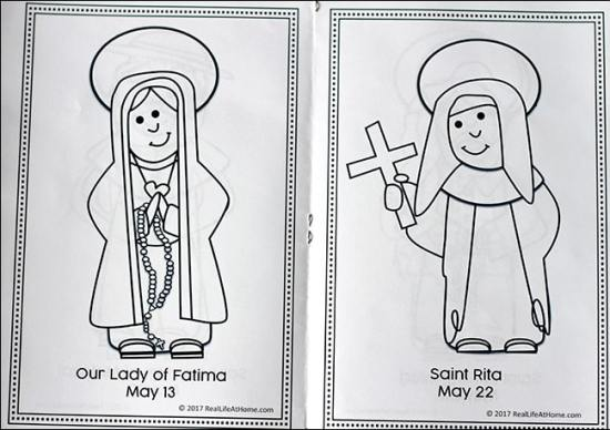 May Saints Coloring Book (inside) - Our Lady of Fatima and Saint Rita | Real Life at Home