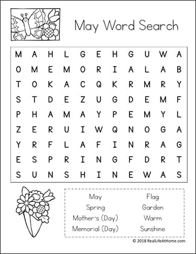 image relating to Printable Words Searches known as Free of charge Printable: May perhaps Term Appear Printable Puzzle for Young children