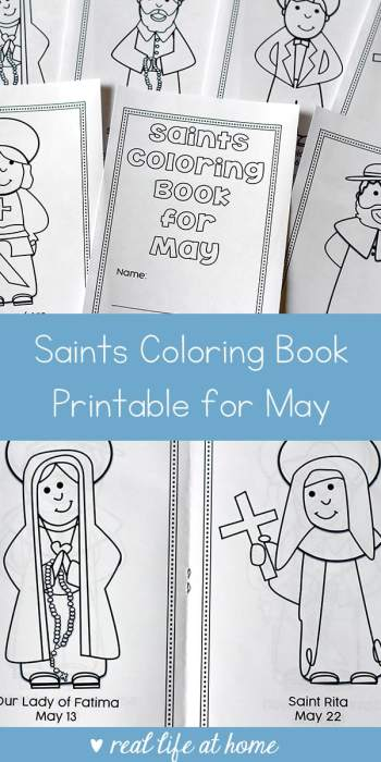 Looking for a fun saints coloring activity to do with kids? This free printable saints coloring book for May is a great Catholic coloring book for kids