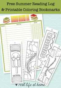 Summer reading is fun! This post contains a free printable summer reading log and printable bookmarks for coloring in with summer motifs. There are also more ideas for summer reading fun.