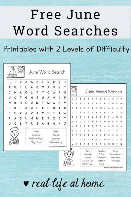 Free Printable: June Word Search Printable Puzzle for Kids