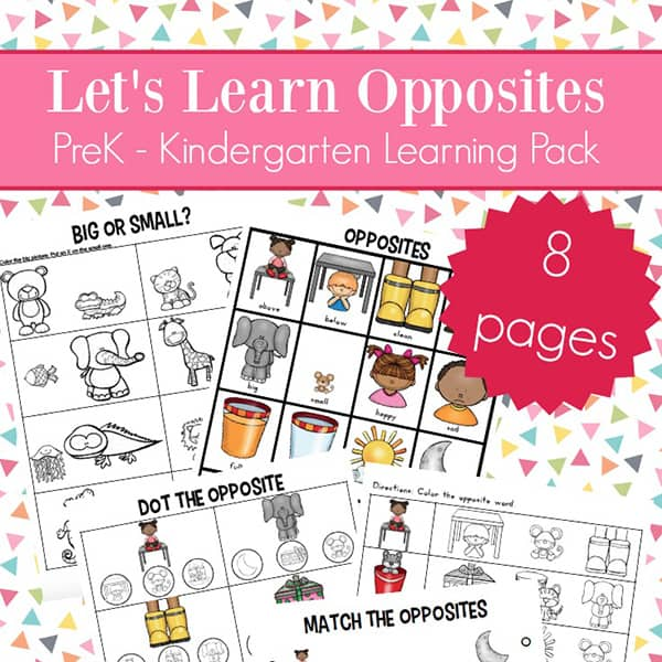 Opposites Worksheets for Kindergarten and Preschool (Antonyms ...