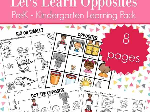 Opposites Worksheets for Kindergarten and Preschool (Antonyms Worksheets Packet)