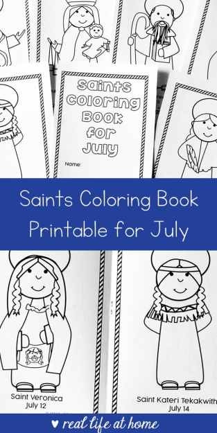 Free Printable Saints Coloring Book for July (Coloring for Catholic ...