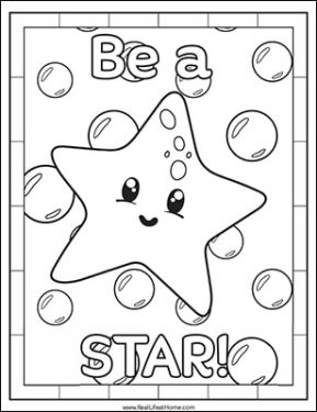 Free Starfish Coloring Page from the Free Ocean Animals Coloring Pages Packet from Real Life at Home