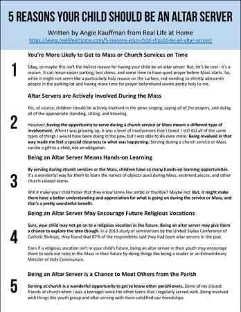 5 Reasons Your Child Should be an Altar Server Printable Handout