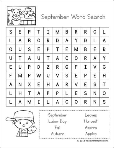 image regarding Labor Day Word Search Printable named No cost Printable: September Term Look Printable Puzzle for Little ones