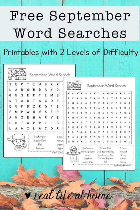 Free September Word Search Printable for Kids - There are two versions of this printable with different levels of difficulty. | Real Life at Home