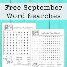 September Word Search Printable Puzzle for Kids