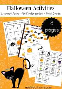 Free printables packet full literacy Halloween activities for kindergarten through second grade featuring alphabetizing, letter matching, & more
