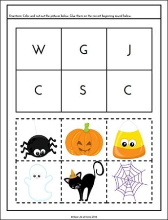 Halloween Beginning Sounds Activity Page from the free Halloween Literacy Packet on Real Life at Home