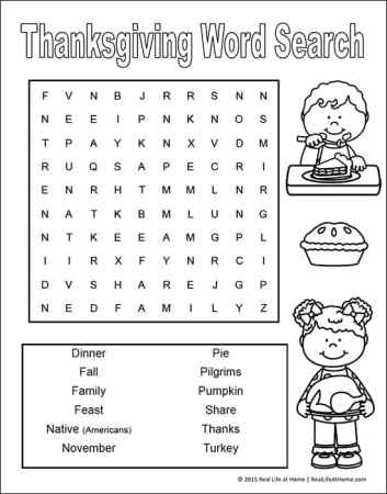 Thanksgiving Word Search Printable for Kids - can be found on Real Life at Home