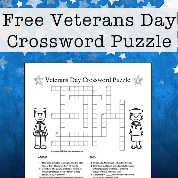 Sensational Veterans Day Crossword Puzzle Free Printable For Kids Download Free Architecture Designs Itiscsunscenecom