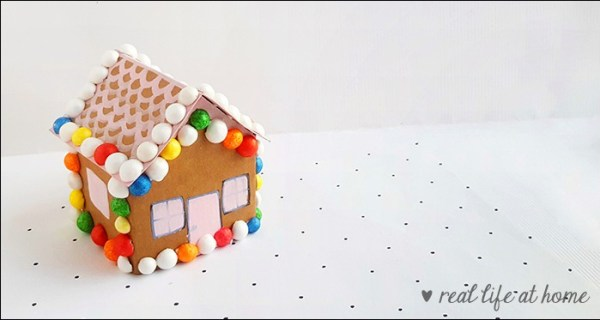 Gingerbread House Paper Craft for Kids with Free Printable Template from Real Life at Home