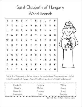 Saint Elizabeth of Hungary Word Search from printables packet