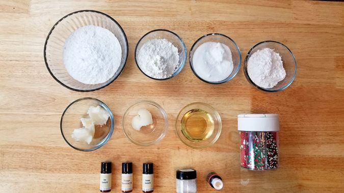 Supplies for Homemade Christmas Bath Bombs (recipe found on Real Life at Home)