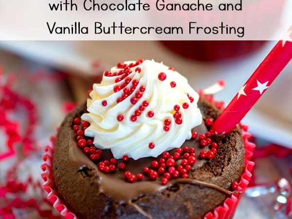 Hot Chocolate Cupcakes with Chocolate Ganache and Vanilla Buttercream Frosting