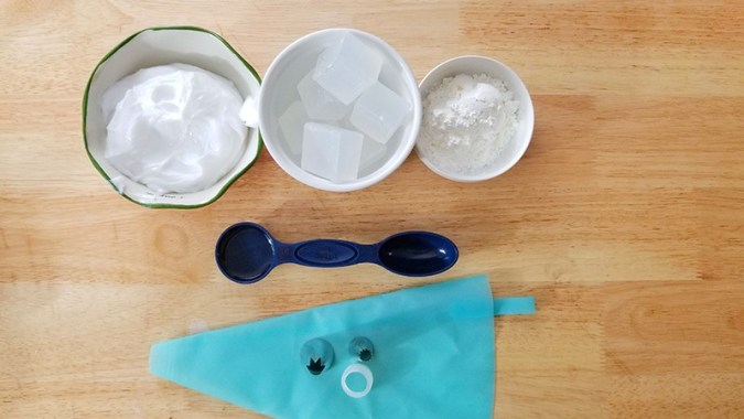 Supplies for Soap Frosting for Cupcake Bath Bombs (recipe found on Real Life at Home)