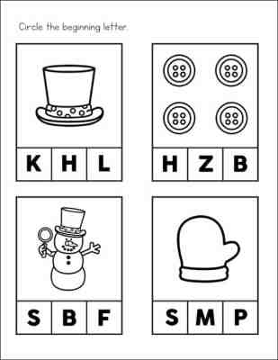 Beginning Sounds Page from Snowman Worksheets Packet