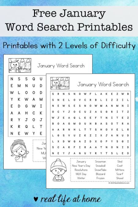 Free January Word Search Printable for Kids - There are two versions of this printable with two different levels of difficulty for each layout type. | Real Life at Home