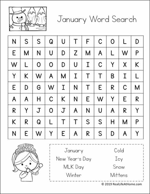 graphic relating to New Years Word Search Printable known as No cost January Term Glimpse Printable Puzzle Fixed for Little ones