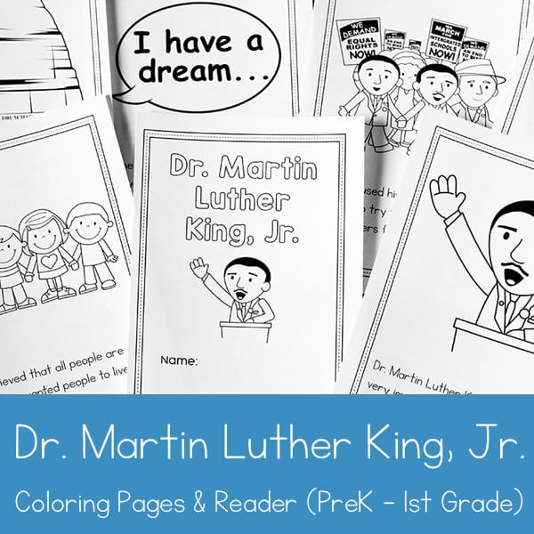 - Martin Luther King Jr. Coloring Book And Reader Printable For Preschool -  1st Grade