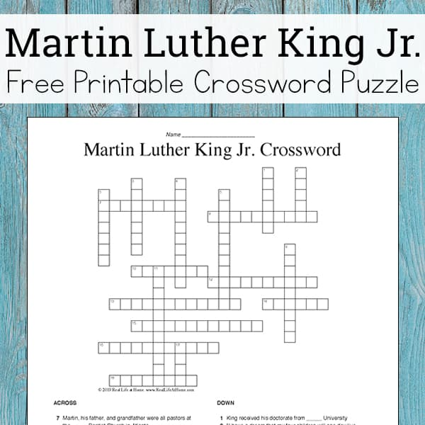 Martin Luther King Jr. Crossword Puzzle Free Printable