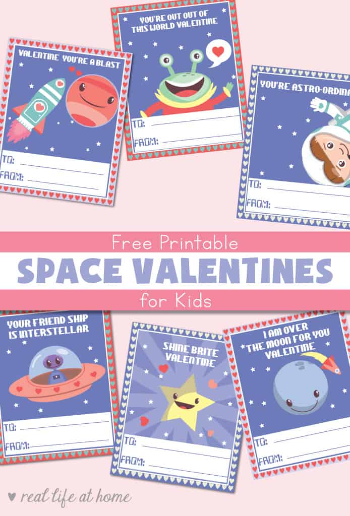 graphic relating to Space Printable named Cost-free Printable House Valentines for Little ones with 6 Entertaining Area