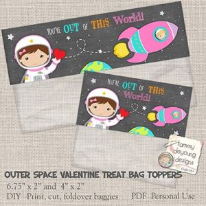 Outer Space Valentine Treat Bag Toppers