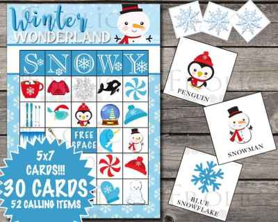 Winter Bingo Card Set