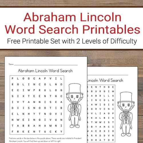 Abraham Lincoln Word Search Printable Set for Kids (Free) from Real Life at Home