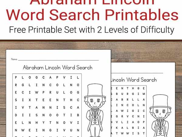 Abraham Lincoln Word Search (Free Printable)