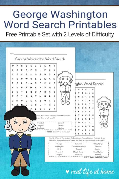 George Washington Word Search Printables for Kids from Real Life at Home