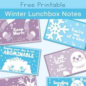 These cute and funny winter-themed cards for kids are sure to add a giggle to lunch when used as winter lunchbox notes. | Real Life at Home