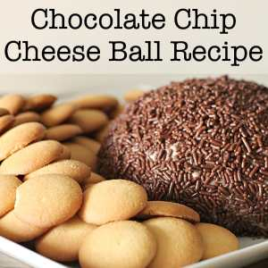 This quick and easy Chocolate Chip Cheese Ball with a cream cheese base is sure to please at parties or just for a special dessert dip at home. | Real Life at Home