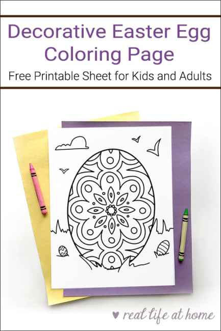 Free Decorative Easter Egg Coloring Page Printable for Kids and Adults from Real Life at Home