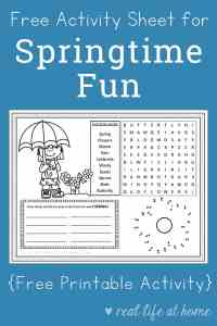 Free Printable Spring Activity Page or Placemat for Kids | Real Life at Home
