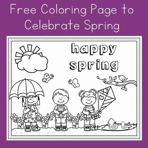 Happy Spring - Free Spring Coloring Page Printable for Kids