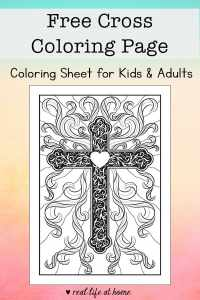 Whether it's for Easter or any time of year, this beautiful and inspirational religious cross coloring page is perfect for kids and adults.