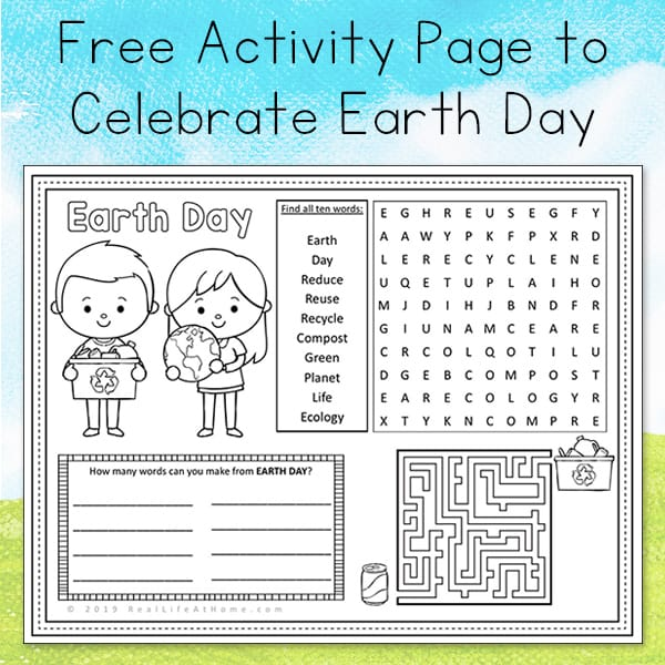 image relating to Printable Picture of Earth referred to as Globe Working day Match Webpage or Placemat for Youngsters (No cost Printable)