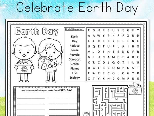 Earth Day Activity Page or Placemat for Kids (Free Printable)