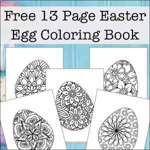 Looking for more intricate Easter Egg coloring pages? Enjoy this free printable coloring book filled with 13 Easter egg coloring pages for kids and adults.