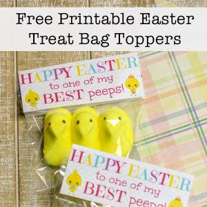 Want to give out some inexpensive treats at Easter? These super cute Peep-inspired Easter treat bag toppers are free to download and print.