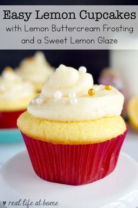 Enjoy the fresh taste of lemon with these lemon cupcakes that include not only lemon buttercream frosting but also an easy to make lemon glaze.