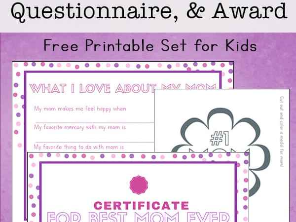 Free Printable Mother's Day Questionnaire, Certificate, and Award for Kids